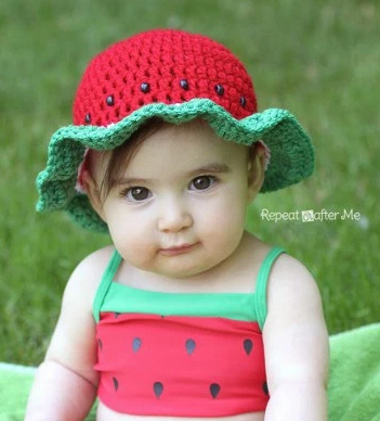 Watermelon Easy Crochet Hat | AllFreeCrochet.com