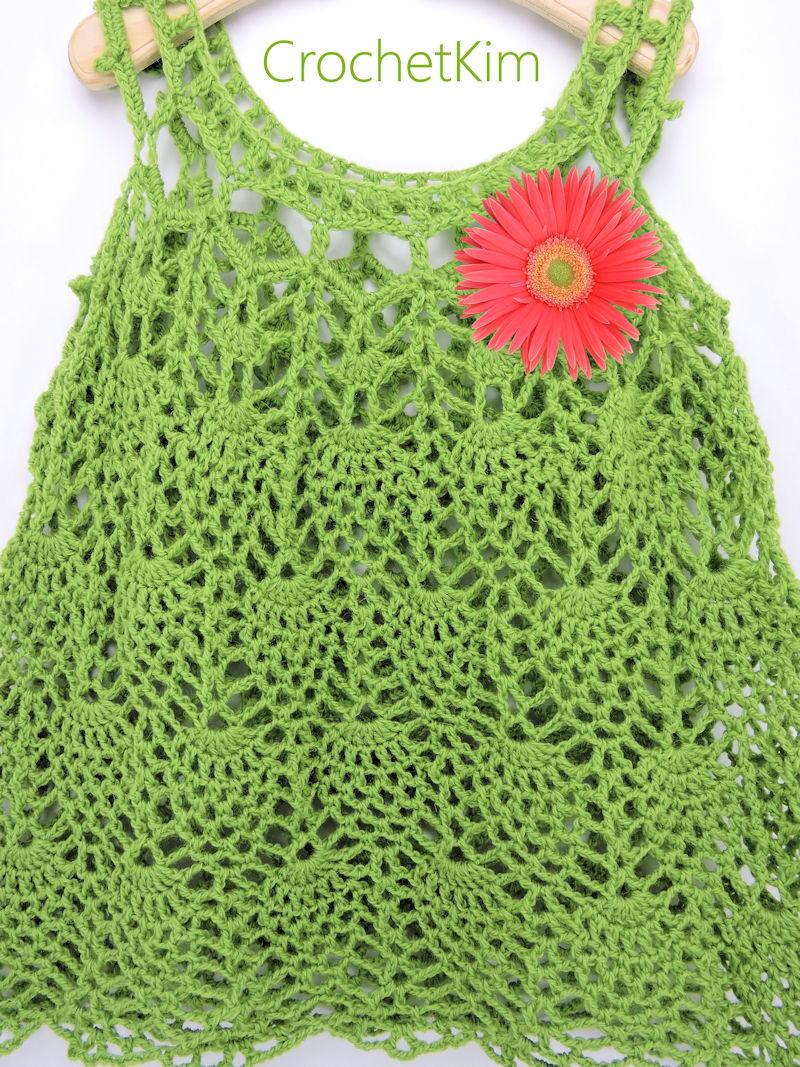 Pineapple Cascade Baby Dress | AllFreeCrochet.com