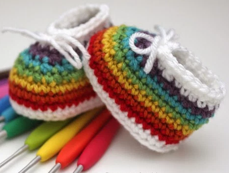 Rainbow Easy Crochet Baby Booties