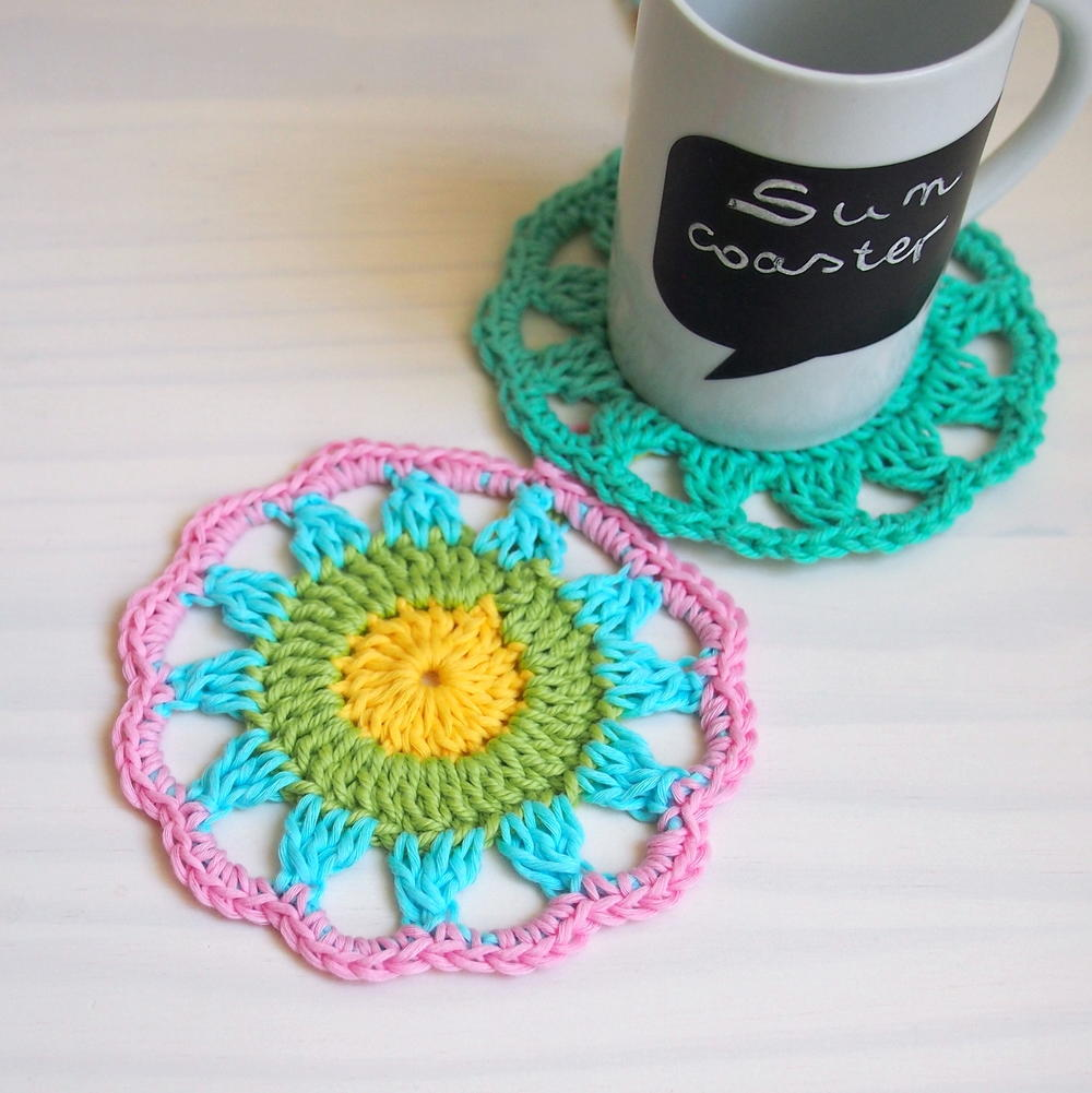 13 free crochet doily patterns for beginners favecrafts sun coaster crochet doily combine bright and bold yarn with an itty bity crochet doily pattern to make one set of charming diy coasters bankloansurffo Choice Image