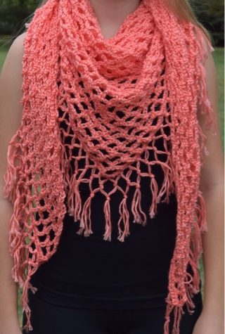 Fringed Crochet Triangle Shawl Pattern Allfreecrochet