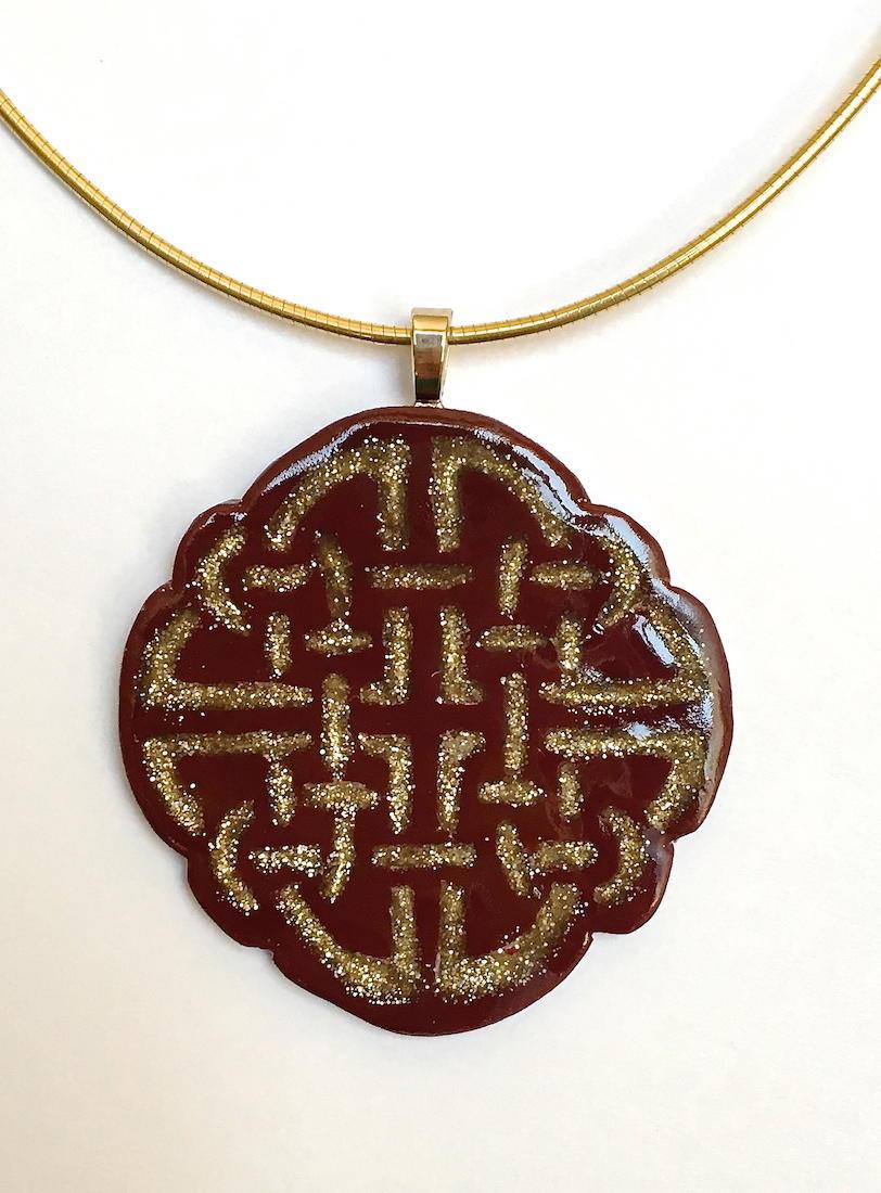 Gold Inlay Polymer Clay Pendant AllFreeJewelryMakingcom