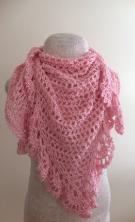 Pink Lace Crochet Triangle Shawl Allfreecrochet