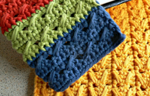 Two for One Cable Stitch Crochet Dishcloths
