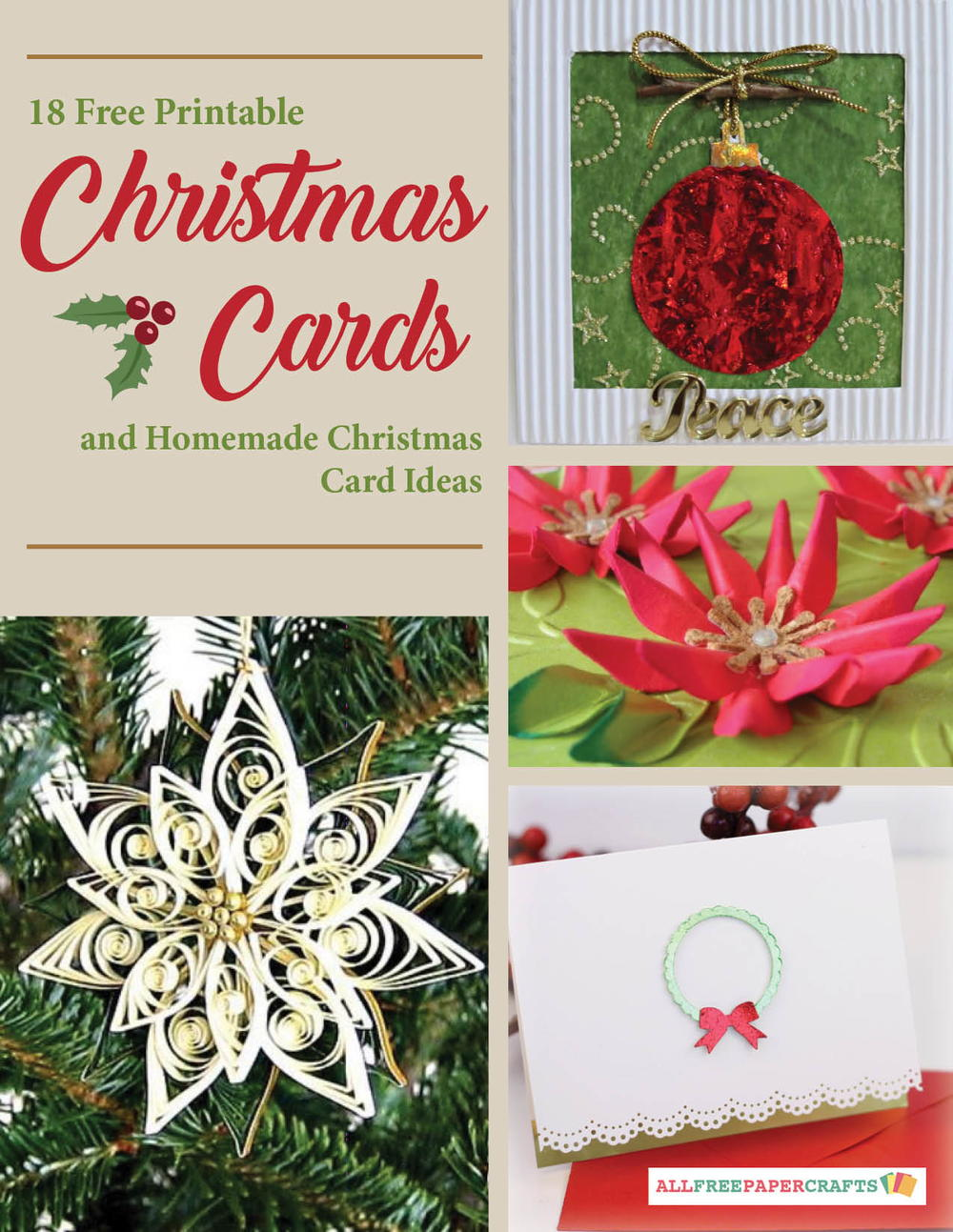 Attractive Card Making Ideas Free Part - 6: 18 Free Printable Christmas Cards And Homemade Christmas Card Ideas Free  EBook | AllFreePaperCrafts.com
