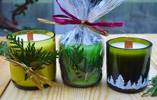 Wine Bottle DIY Candles