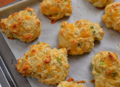 Cheddar Drop Biscuits with Chive Butter