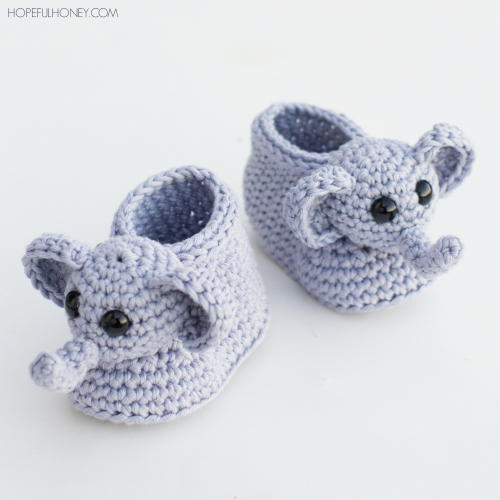 Ellie The Elephant Crochet Baby Booties Allfreecrochet