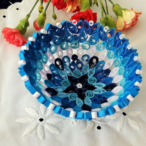 True Blue Quilled Paper Bowl