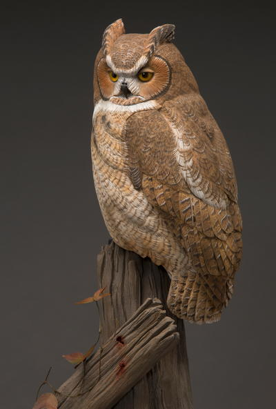 The Great Horned Owl in Miniature - Painting | wildfowl-carving.com