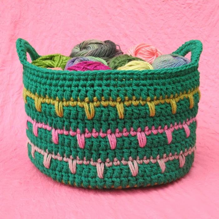 Free Crochet Pattern For Large Basket : Spiky Stripey Crochet Basket AllFreeCrochet.com