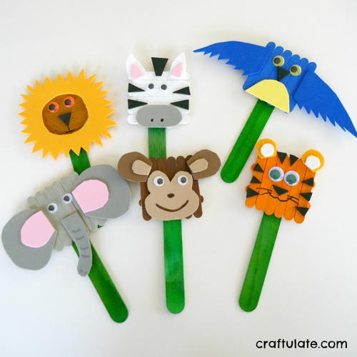 Popsicle Stick Animal Puppets Allfreekidscrafts Com