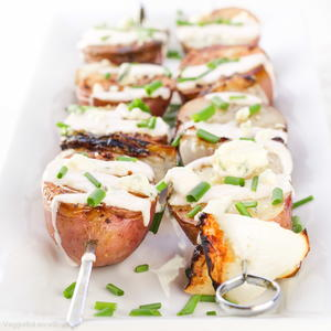 Easy Grilled Potatoes with Bleu Cheese