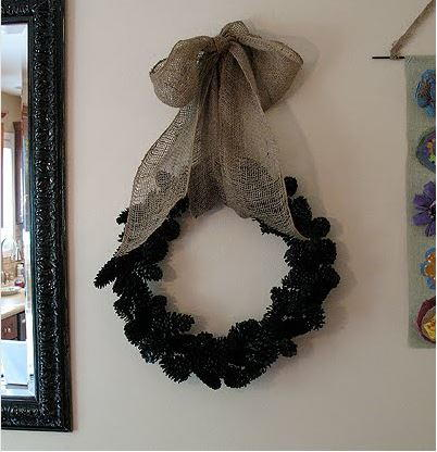 Burlap and Black Pinecone Wreath