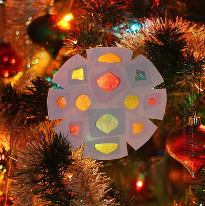 Faux Stained Glass Snowflake Paper Ornament