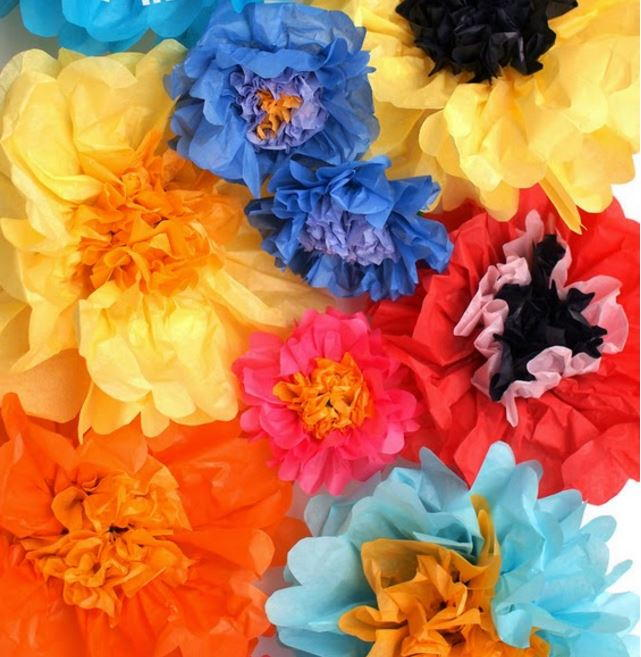 Multi colored tissue paper flowers for How to make multi colored flowers