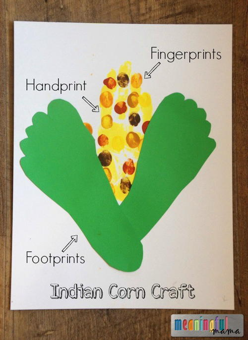 Kids Indian Corn Handprint Paper Craft
