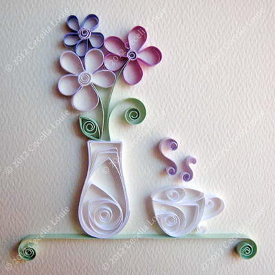 Pretty Quilled Vase and Teacup Embellishment