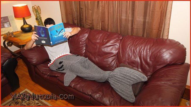 shark attack crochet blanket