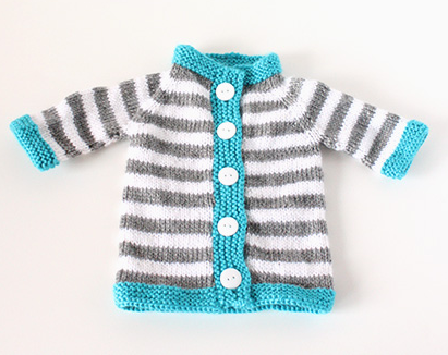 Stripey Baby Sweater Pattern Allfreeknittingcom