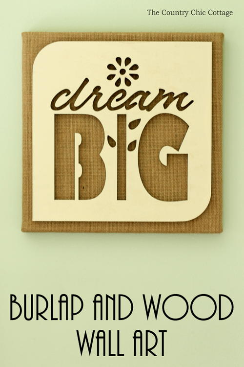 Burlap Wall Art With Wood Cutout