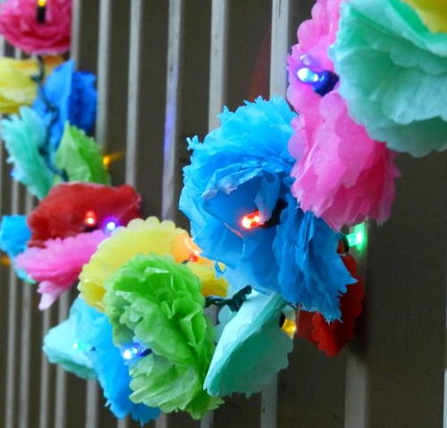 Tissue Paper Flower Party Lights