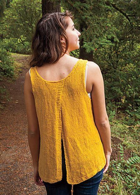 Knitting Pattern Baby Tank Top Free : Sunflower Split Back Tank AllFreeKnitting.com