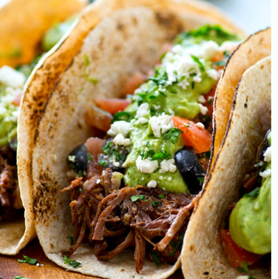 Copycat Chipotle Pulled Beef Tacos with Avocado Crema