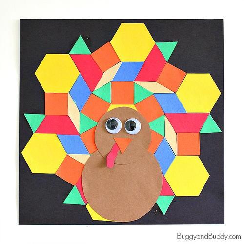 mosaic turkey paper craft for kids allfreekidscrafts com