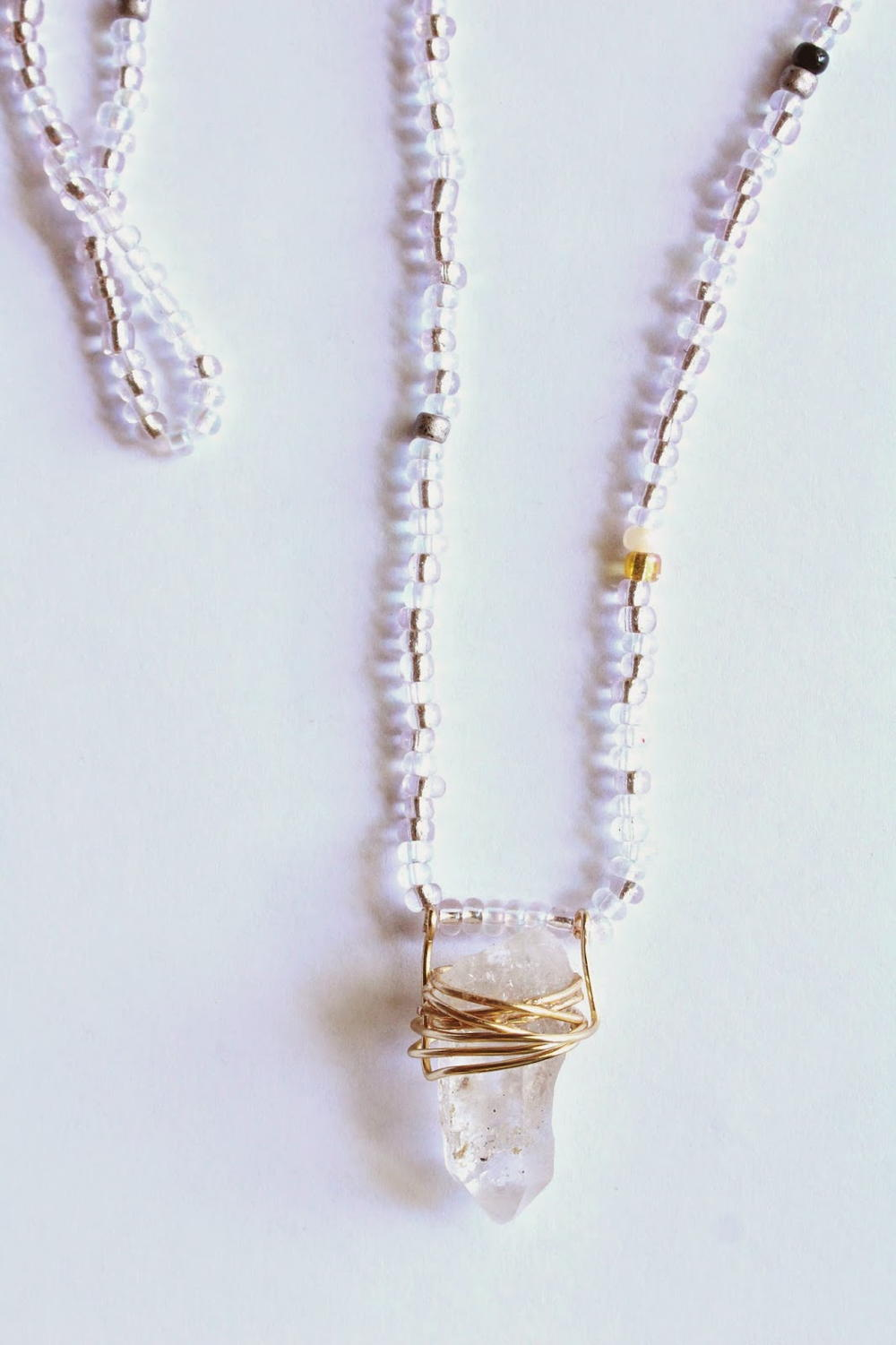 Wire Wrapped Beaded Crystal Necklace | AllFreeJewelryMaking.com