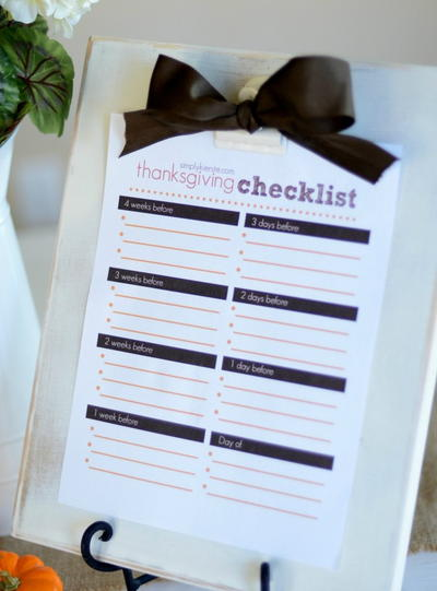Thanksgiving Checklist Free Printable