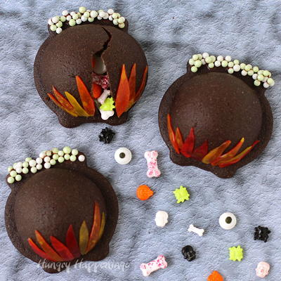 Candy Filled Cauldron Halloween Cookies