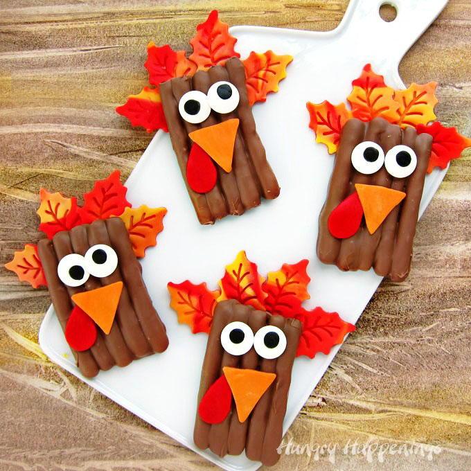 19 Edible Turkey Crafts Thanksgiving Crafts: Turkey Pretzel Thanksgiving Treats
