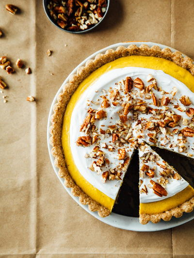 Ginger and Pumpkin Tart with Maple-Pecan Crust