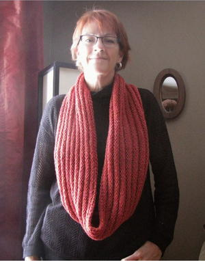 Coral Corduroy Infinity Scarf