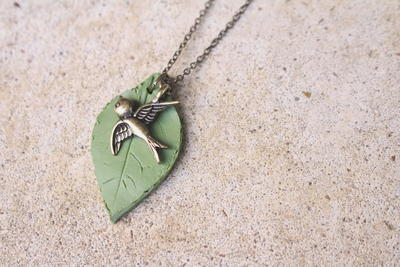 Clay Leaf Necklace Pendant