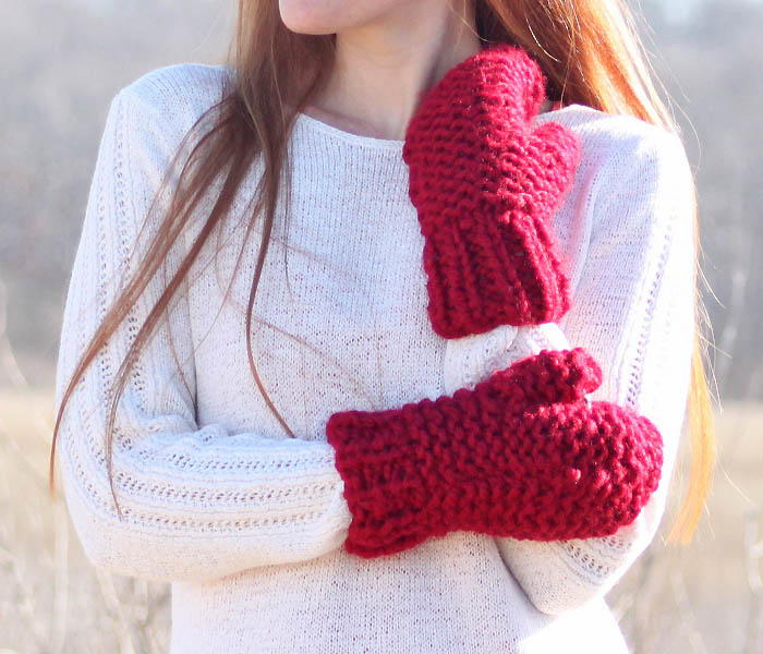 Incredibly Easy Chunky Mittens Allfreeknitting