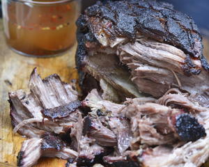 Pork Shoulder Smoked, Pulled, and Vinegar-Sauced in the Style of North Carolina