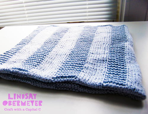 Beginner Blue Baby Blanket Allfreeknitting