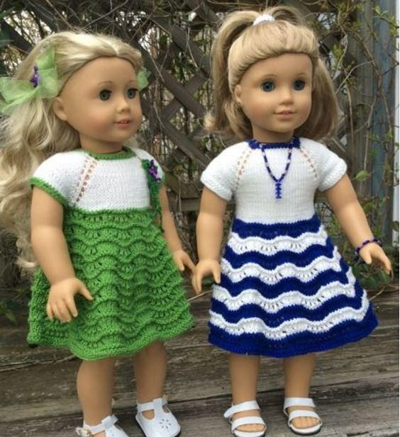 Two American Girl Doll Dresses Allfreeknitting