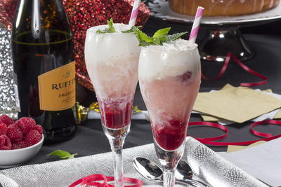 Champagne Raspberry Floats