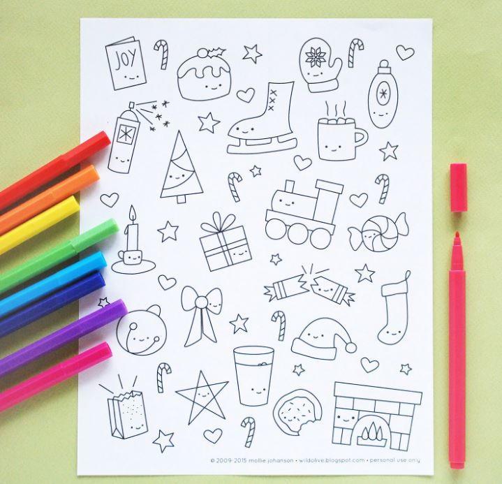 Kawaii Christmas Coloring Pages | AllFreeChristmasCrafts.com