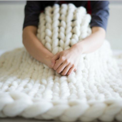 Extreme Cream Knitted Blanket