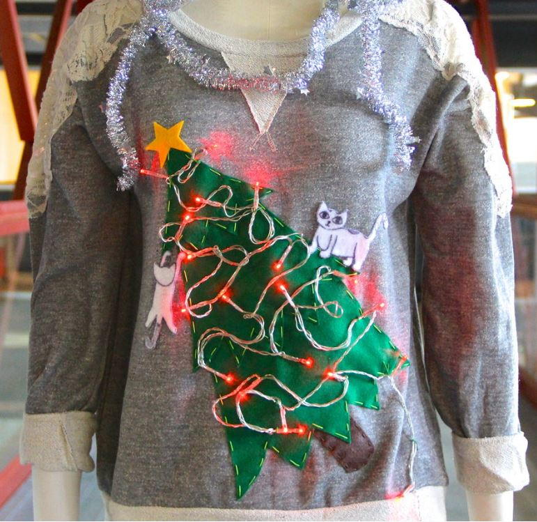 Cat Lady Diy Ugly Christmas Sweater Allfreechristmascraftscom