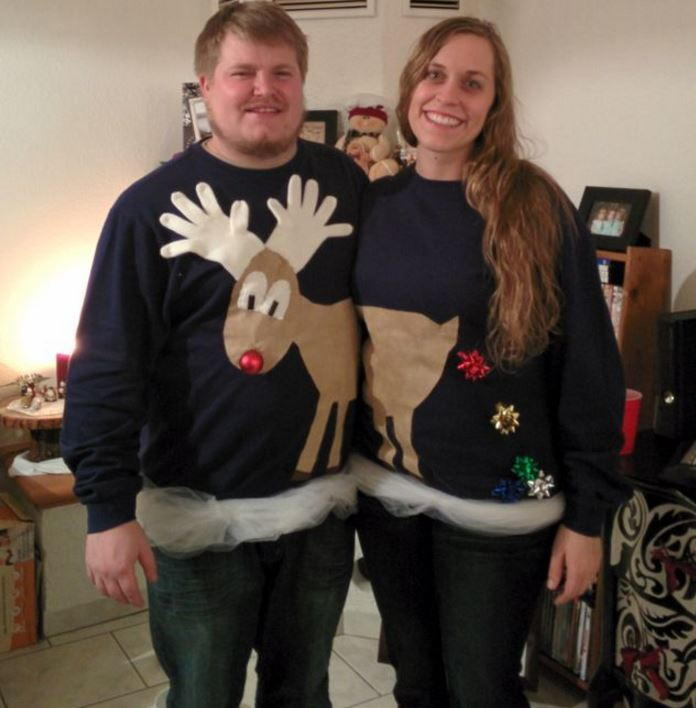 reindeer couples ugly sweater idea allfreechristmascraftscom