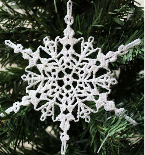 Crochet Angel Baptism Gift Christmas Lace Angel Ornament Tree: Sparkly Crochet Snowflake Ornament