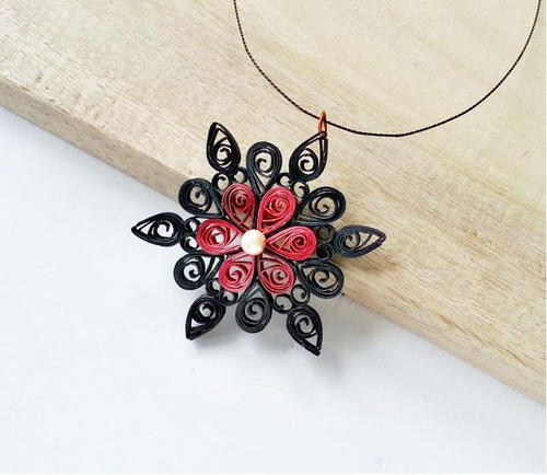 Striking Floral Quilled Pendant