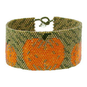 Rain Falling on Pumpkins Peyote Stitch Bracelet
