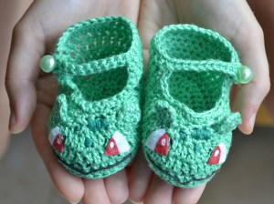 Bulbasaur-Inspired Baby Booties