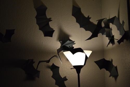 Paper Bat Swarm Halloween Project